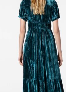 17971227551 Tiered Velvet Dress
