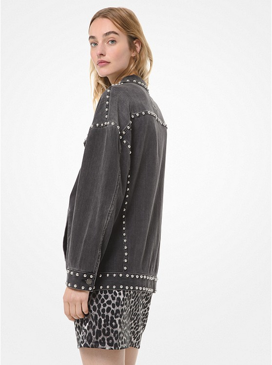 new product 6d6d3 ce490 Giacca jeans boyfriend in denim con borchie