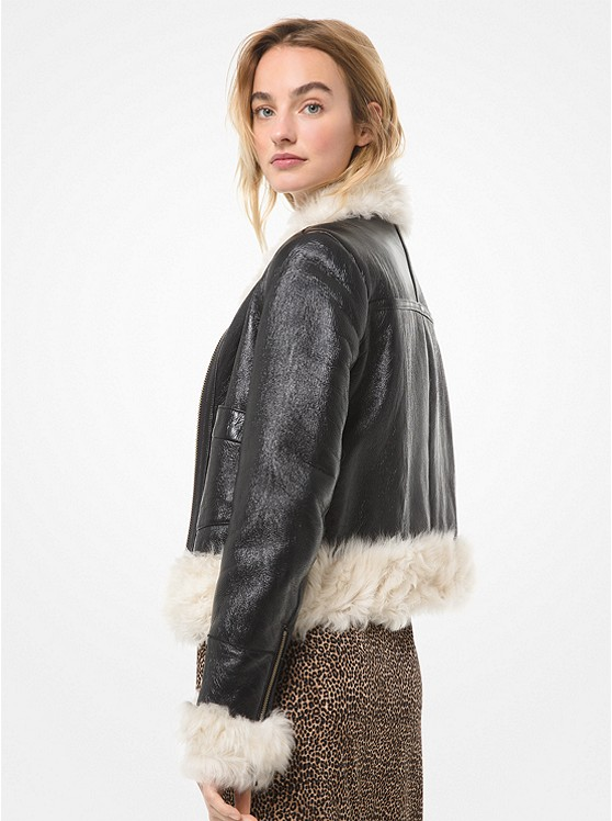 Shearling Cropped Bomber Jacket