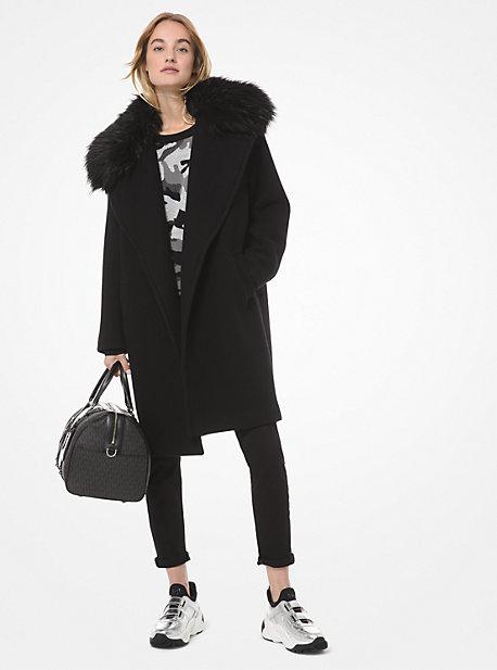 마이클 마이클 코어스 에코퍼 트리밍 울 블렌드 코트 Michael Kors Faux Fur-Trim Wool-Blend Coat,BLACK
