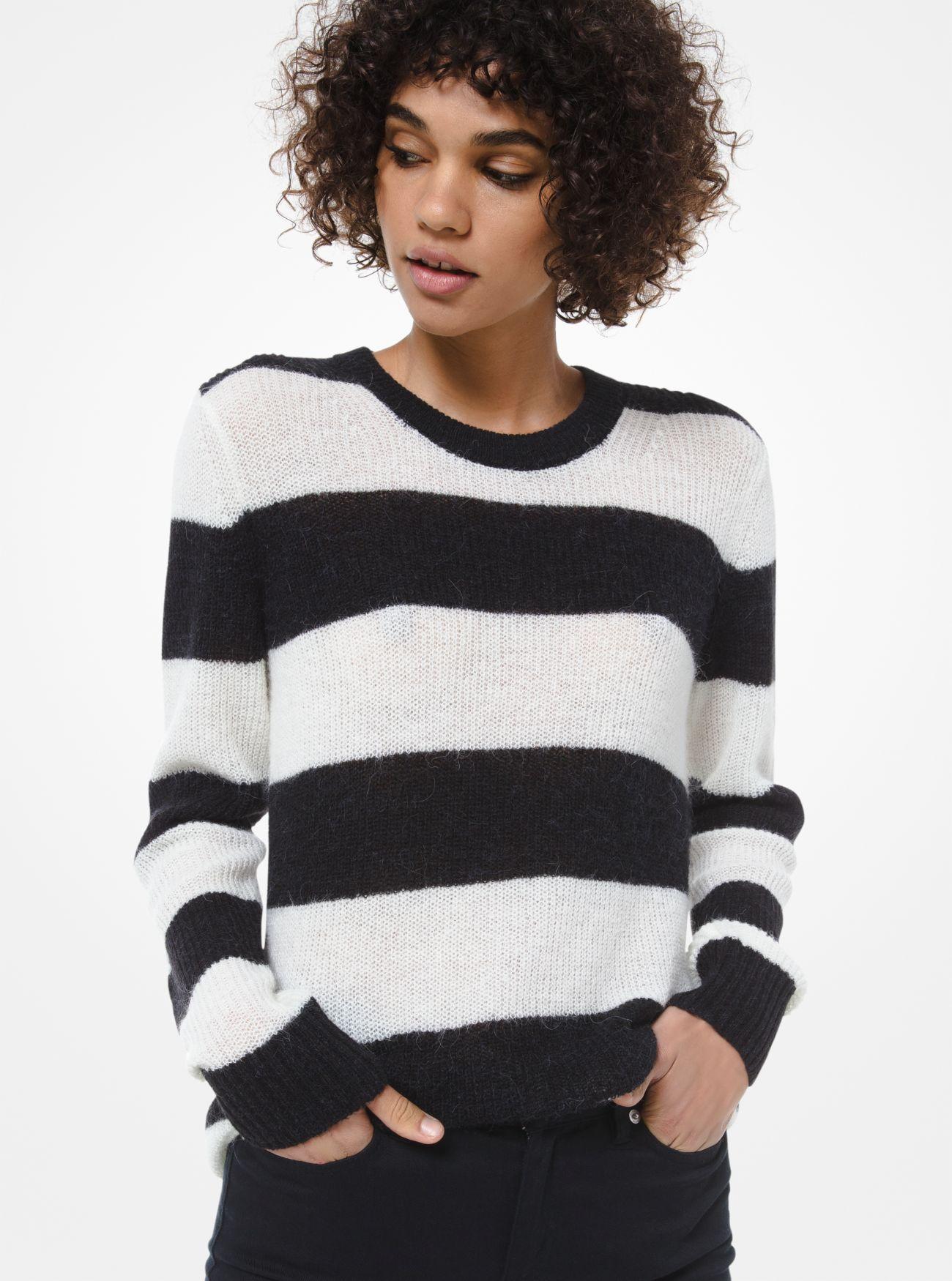 Pullover in misto lana di alpaca a righe