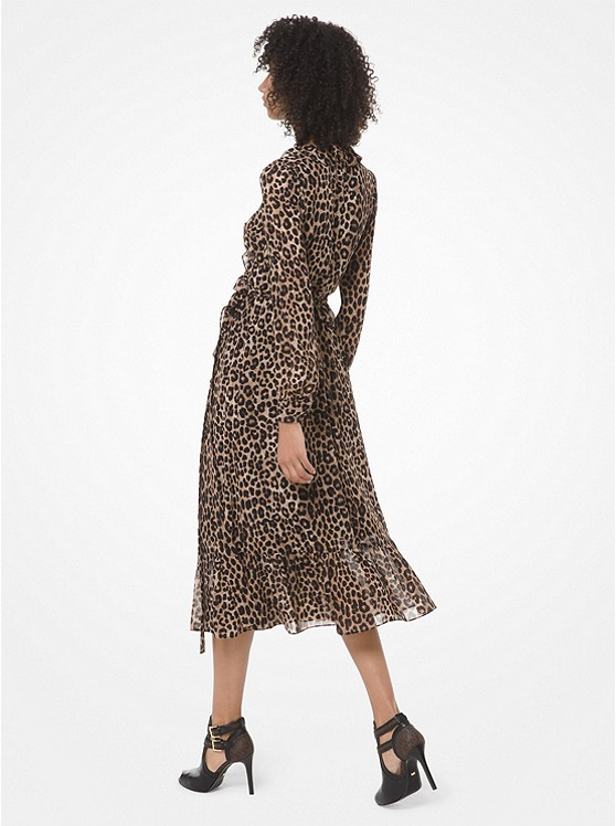 Leopard Georgette Wrap Dress