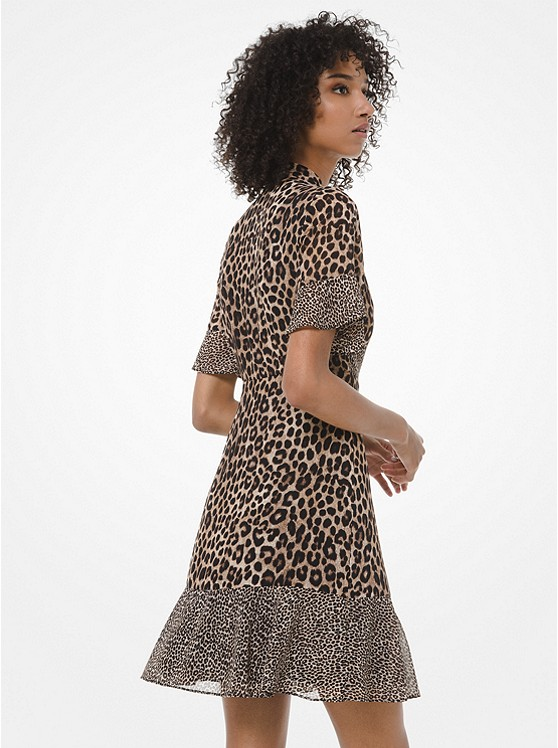 Mixed Leopard-Print Georgette Tie-Neck Dress