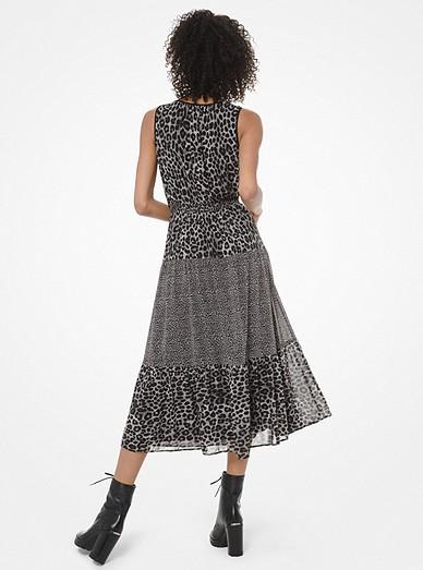7a89cbd2 Mixed Leopard-Print Georgette Tiered Dress | Michael Kors