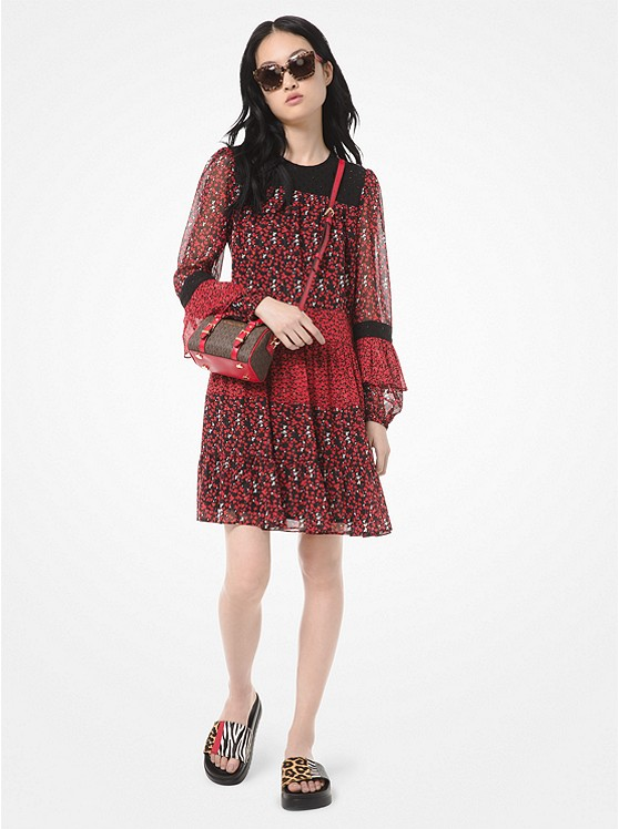 Mixed Floral Leaf-Print Georgette Dress