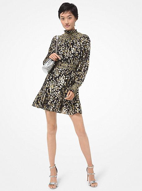 마이클 마이클 코어스 별 메탈릭 미니 원피스 Michael Michael Kors Star Metallic Fil Coupe Silk Blend Mini Dress,SILVER/GOLD