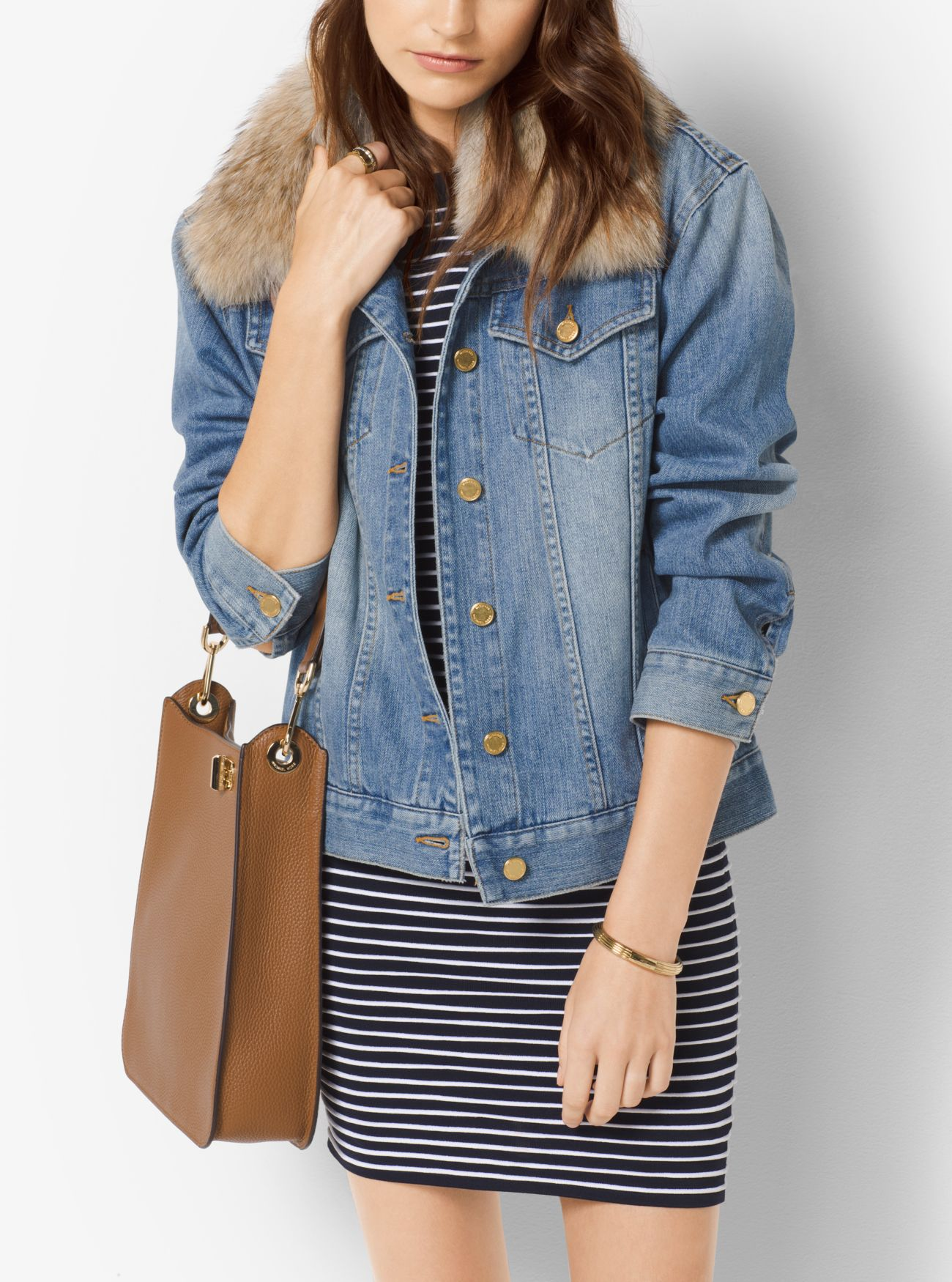 Fur-Collar Denim Jacket