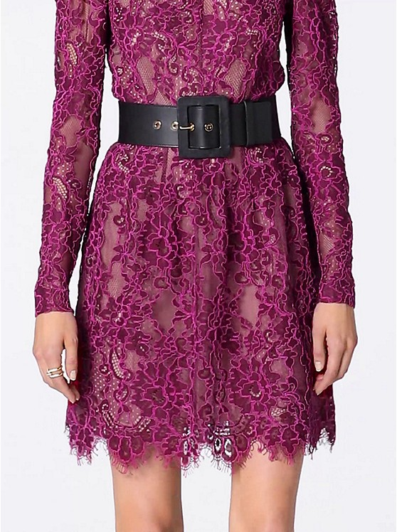 Vestido Festoneado De Encaje Floral Definido | Michael Kors
