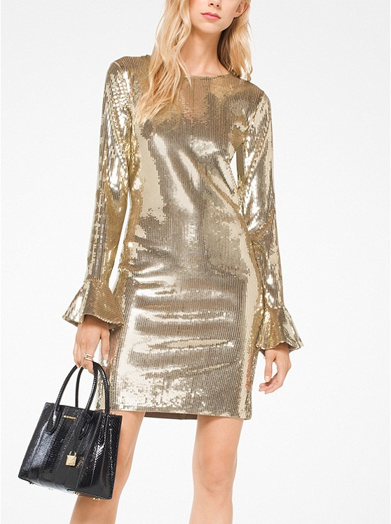 Sequined Bell-Cuff Dress