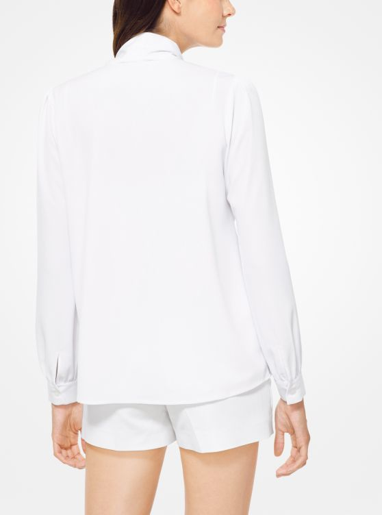 Crushed Crepe Tie-Neck Blouse