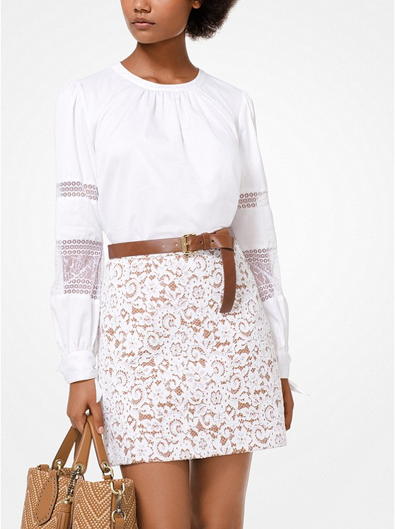 Cotton Poplin And Lace Top by Michael Michael Kors