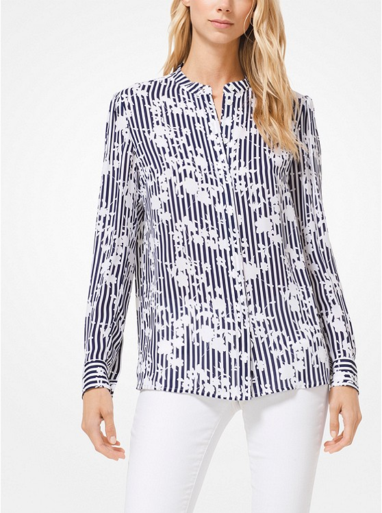 88f2788af696d Floral Striped Silk-georgette Blouse