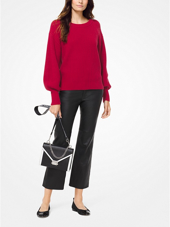 Ribbed Knit Blouson Sleeve Sweater by Michael Michael Kors