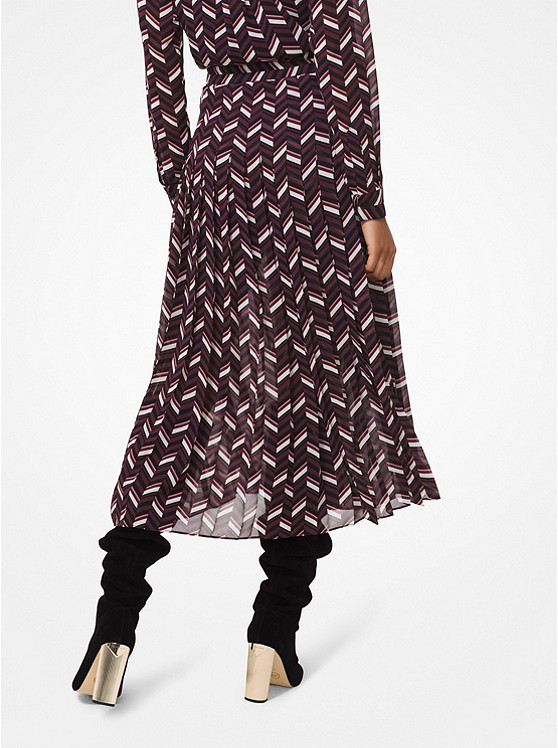 e3884ad8a Falda plisada de georgette con estampado en zigzag