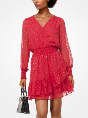 9aedaa36f517 Dot Jacquard Ruffled Dress
