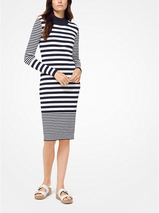 4101673377a Striped Ribbed Stretch-viscose Dress