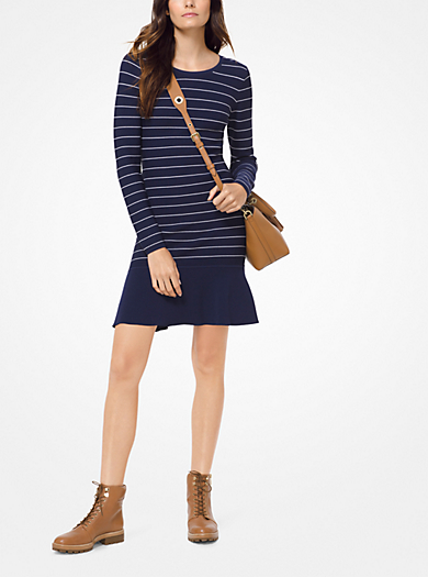 Textured Stripe Stretch Viscose Dress Michael Kors