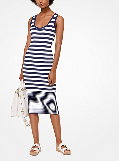 Striped Ribbed Knit Tank Dress Michael Kors