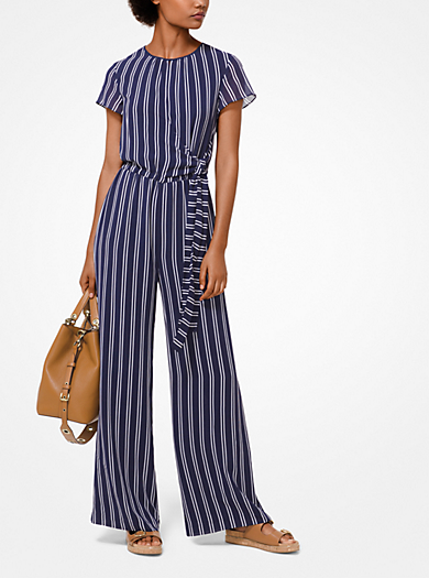 4932904078f Striped Georgette Jumpsuit