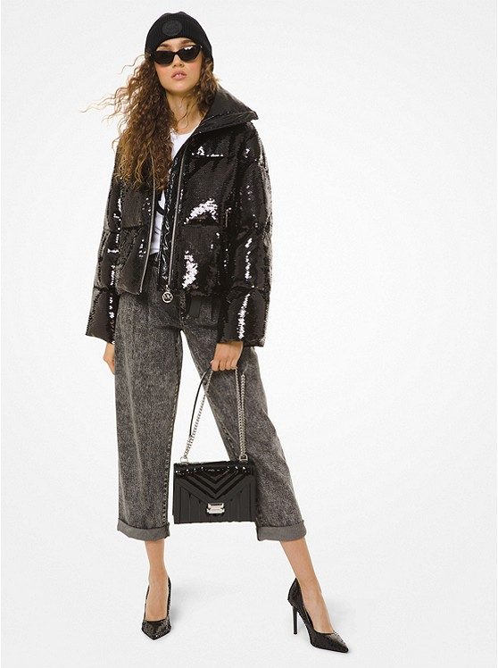 Sequined Ciré Puffer Jacket