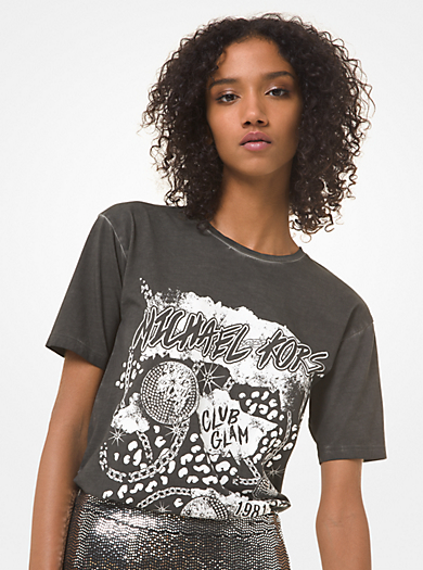 T-shirt boyfriend in jersey di cotone con logo