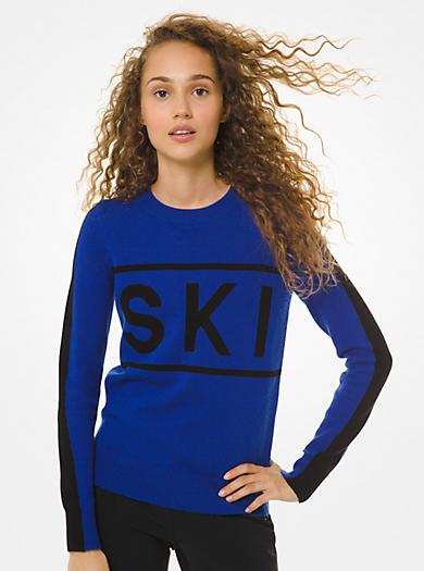 """Pullover in misto lana e nylon con scritta """"SKI"""""""