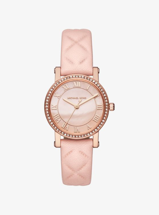 Petite Norie Pavé Rose Gold-Tone And Leather Watch_preview0