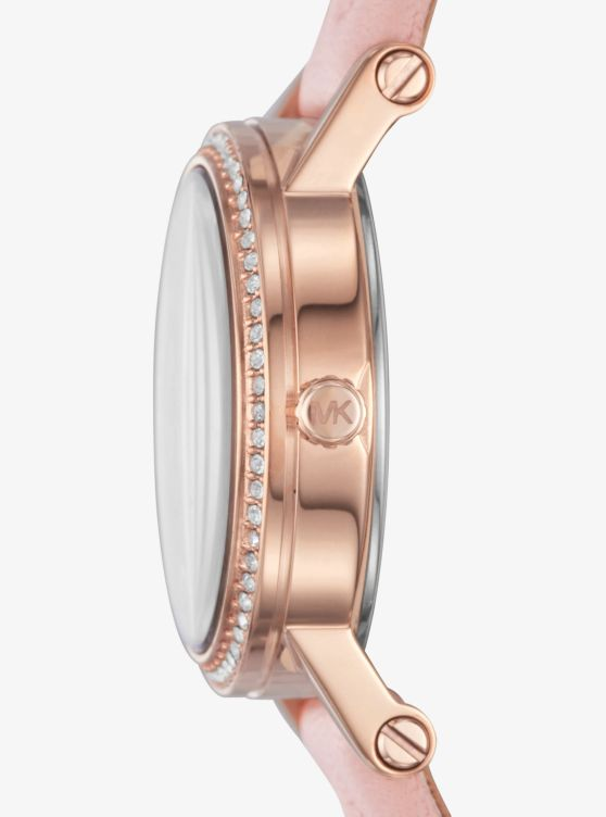 Petite Norie Pavé Rose Gold-Tone And Leather Watch_preview1