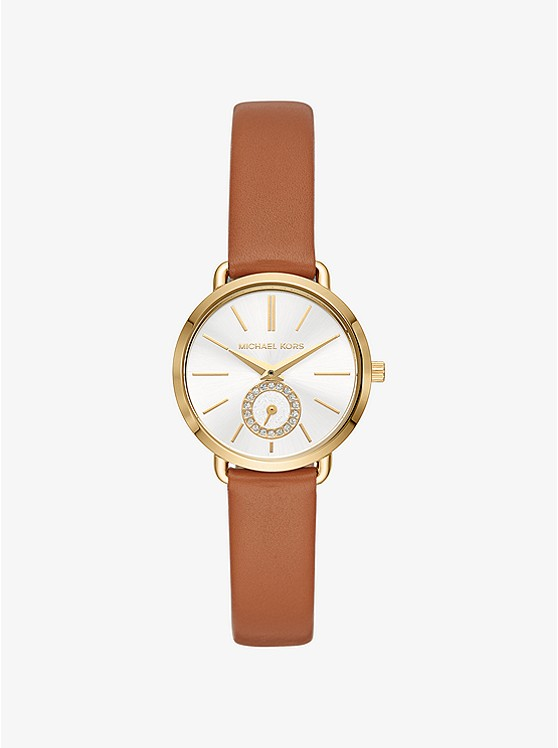 Petite Portia Gold-tone Leather Watch  ffede7f7037e