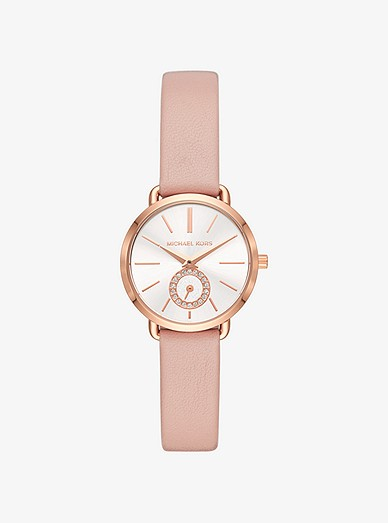 Petite Portia Rose Gold Tone Leather Watch Michael Kors