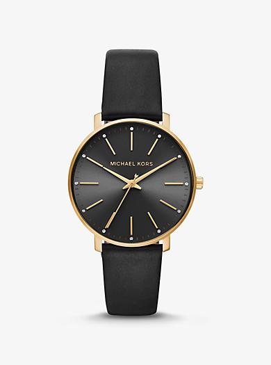 7181b9edbf12 Armbanduhr Pyper im Goldton mit Lederarmband. michael kors · Armbanduhr  Pyper im Goldton mit Lederarmband