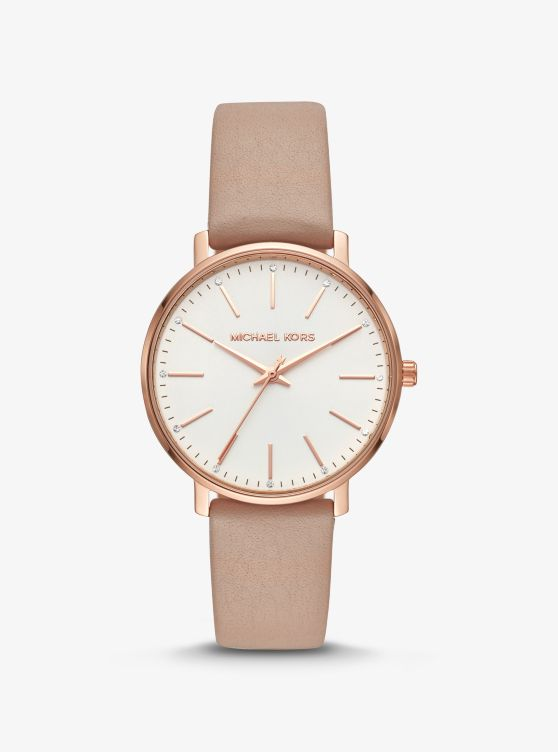 Pyper Rose Gold-Tone and Leather Watch