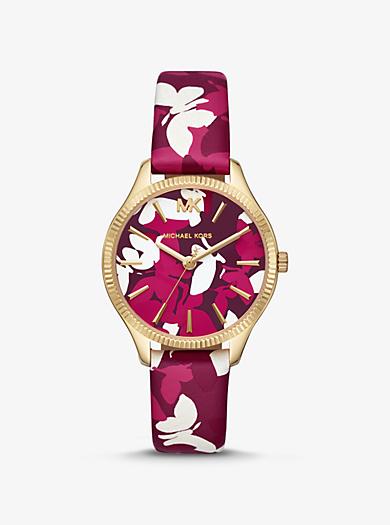 Reloj Lexington mini en tono dorado con estampado de camuflaje de mariposas dcdfc7c335ee