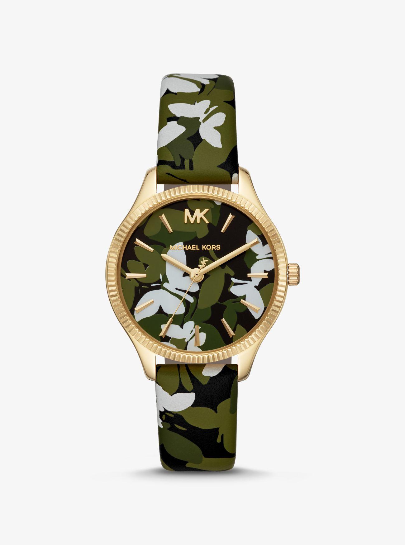 Orologio Lexington mini tonalità oro con farfalle camouflage e cinturino in  pelle ... de35fa94ff4
