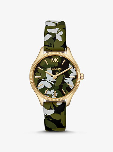 Mini Lexington Gold-Tone and Butterfly Camo Leather Watch · michael kors ... f8c3209b7f