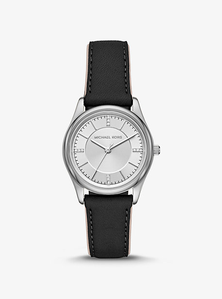 32433ba3a Colette Silver-Tone and Leather Watch · michael kors ...