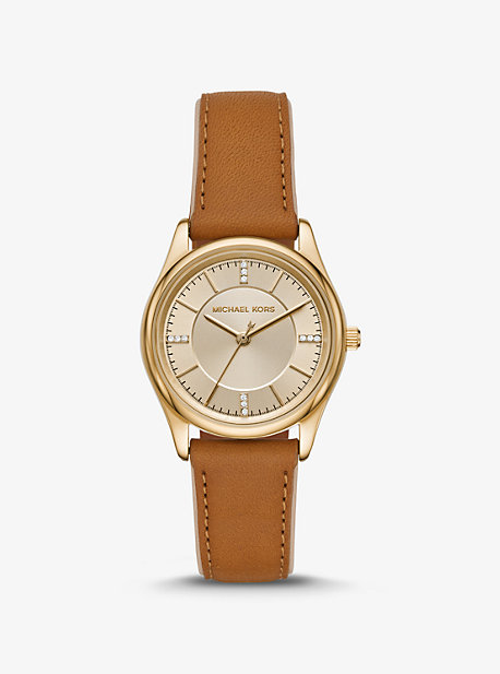 c809dfd2545 Colette Gold-Tone and Leather Watch · michael kors ...