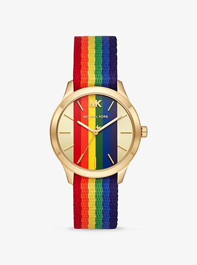6a8c25be37e0 Reloj Runway en tono dorado con motivo de arcoíris. michael kors ...