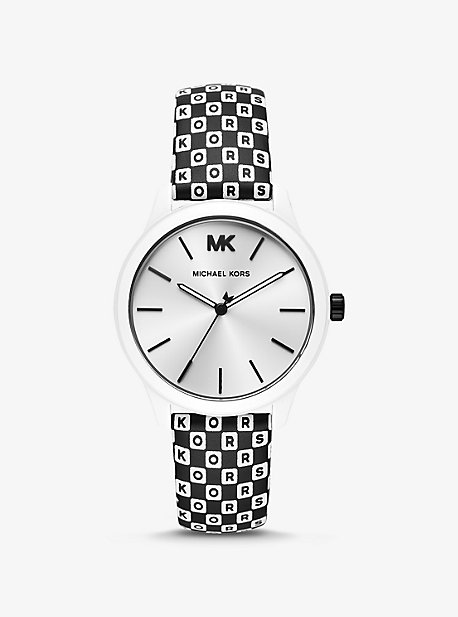 fb7d57785 Runway White-Coated and Checkerboard Logo Watch. michael kors ...