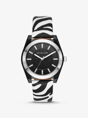 Channing Zebra Print Leather Watch by Michael Kors
