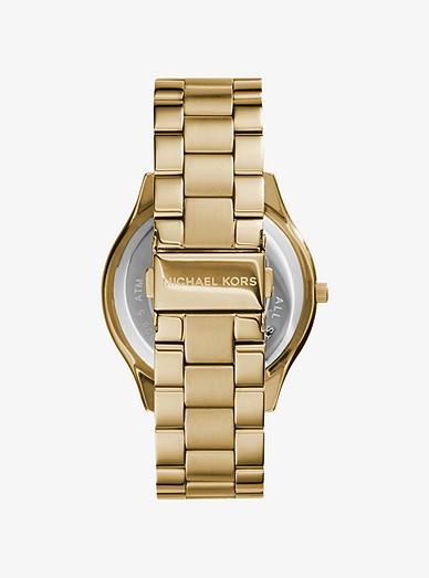 Slim Runway Gold Tone Stainless Steel Watch Michael Kors