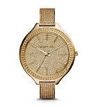 Slim Runway Pave-Embellished Gold-Tone Watch