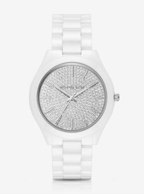 d46927ae9 Slim Runway Pavé Silver-Tone Ceramic Watch   Michael Kors