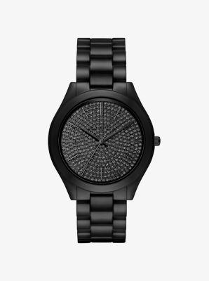 0d1e72d74 Slim Runway Pavé Black-Tone Ceramic Watch   Michael Kors