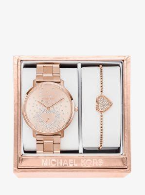 jaryn rose gold tone watch and bracelet set michael kors. Black Bedroom Furniture Sets. Home Design Ideas