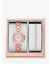 Petite Camille Rose Gold-Tone Watch and Slider Bracelet Set