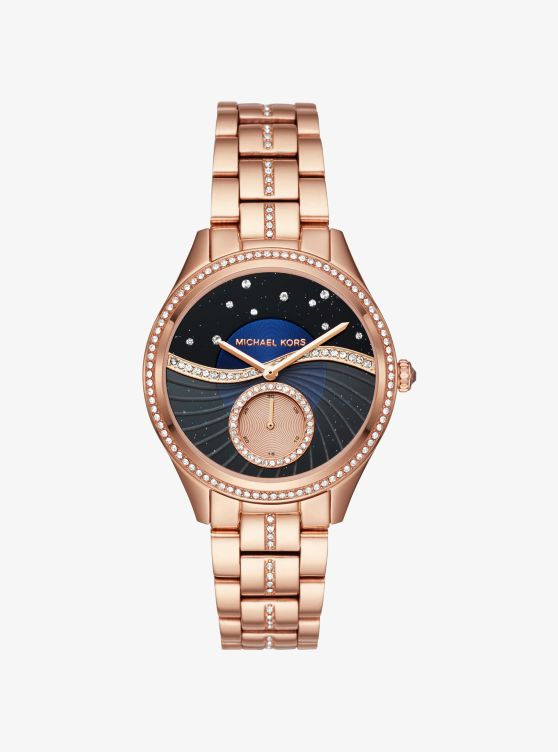 Lauryn Celestial Pavé Rose Gold-Tone Watch