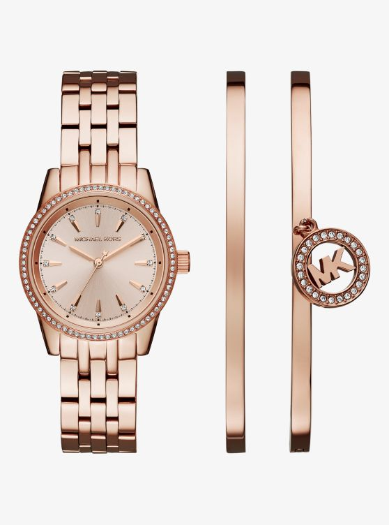 Ritz Rose Gold-Tone Watch and Bangle Set