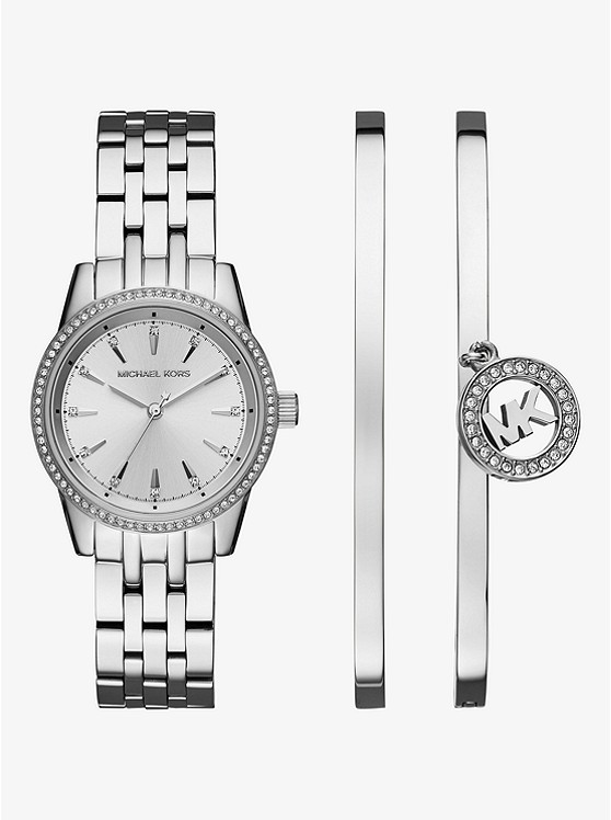 Ritz Silver-Tone Watch and Bangle Set