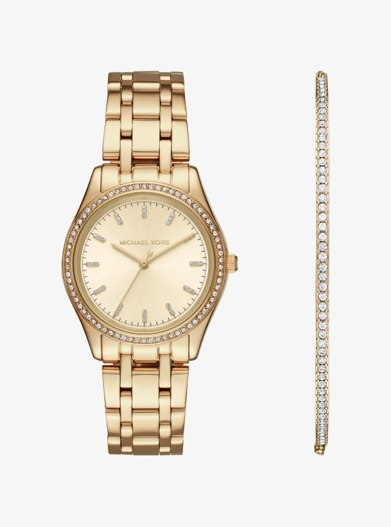 Kiley Gold-Tone Watch and Bracelet Set